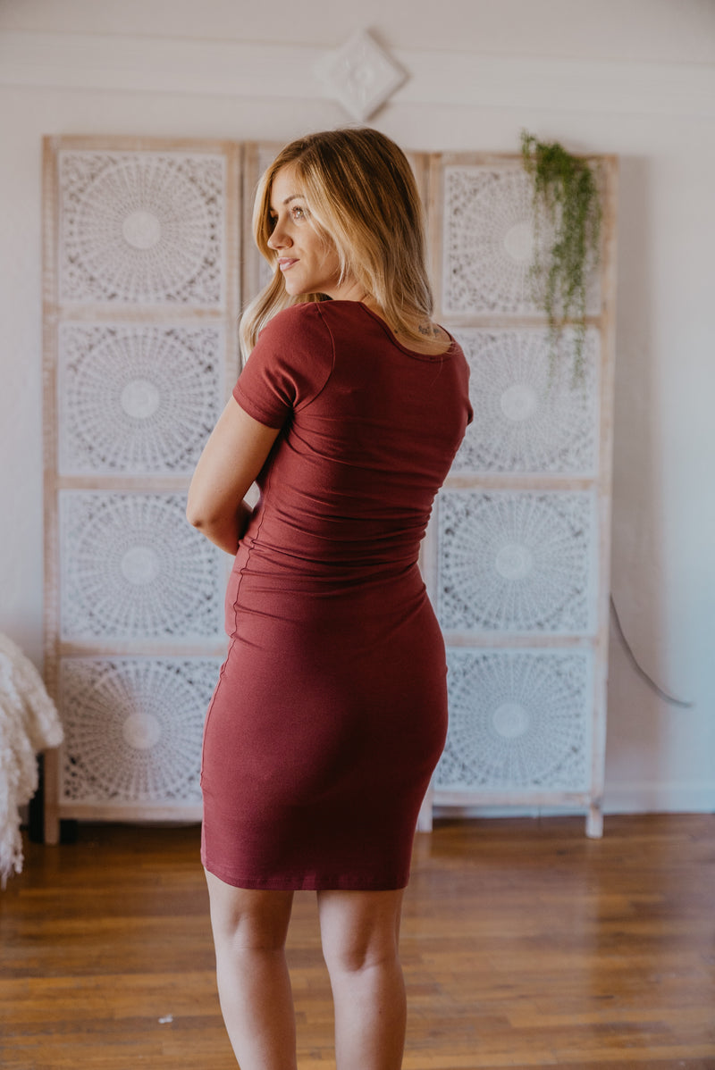 WI Basics: The Myra Bodycon Midi in Fired Brick