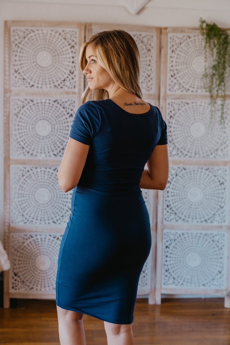 WI Basics: The Myra Bodycon Midi in Navy
