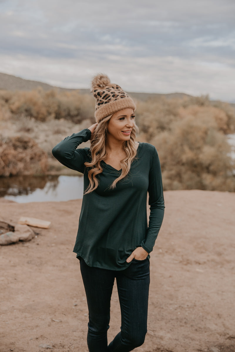 WI Basics: The Trey Long Sleeve Top in Hunter (Sizes S-3X)