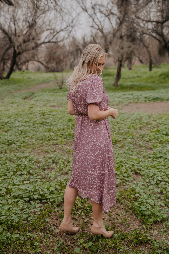 The Talia Dot Midi in Dusty Mauve