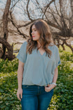 WI Basics: The Mari Top in Light Sage (Sizes S-3X)