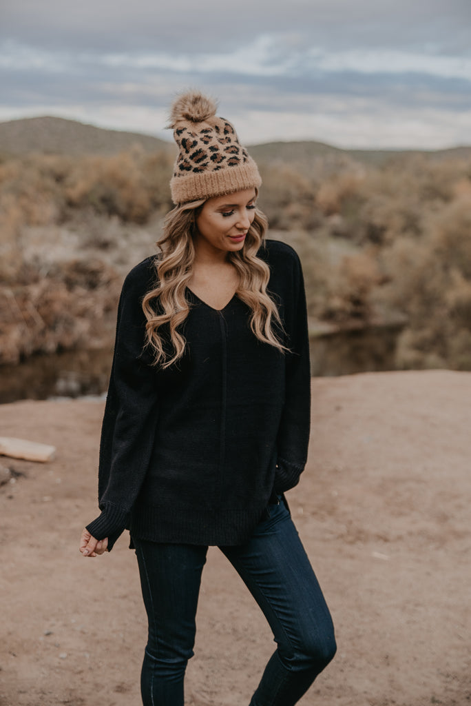 WI Basics: The Mona Sweater in Black (Sizes S-3X)