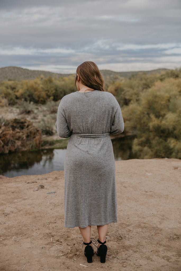 The Jalen Sweater Dress in Heather Gray (Sizes 1X-3X)