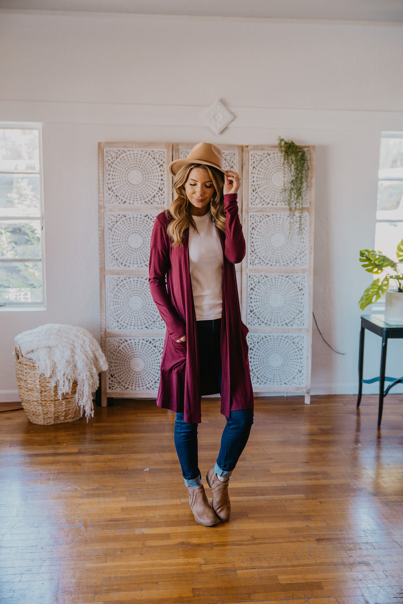 WI Basics: The Kira Cardigan in Wine (Sizes S-3X)
