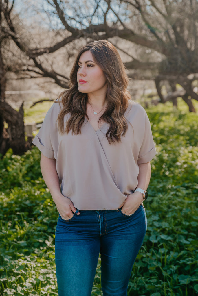 WI Basics: The Mari Top in Taupe (Sizes 1X-3X)
