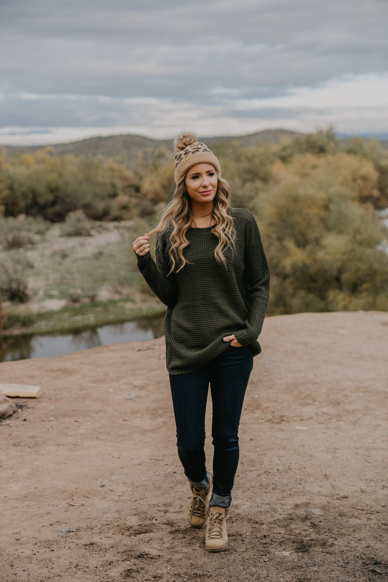 WI Basics: The Etta Waffle Knit Pullover in Army Green (Sizes S-3X)