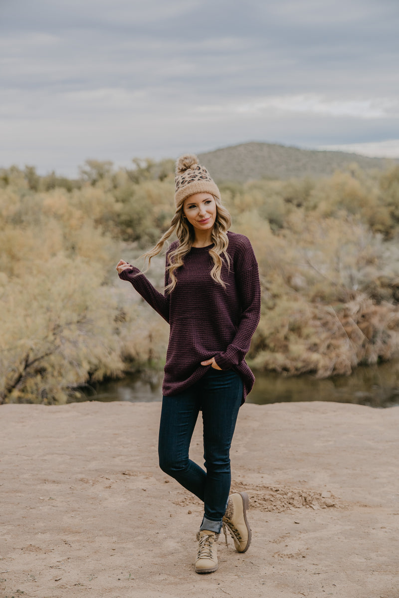 WI Basics: The Etta Waffle Knit Pullover in Dark Plum (Sizes S-3X)