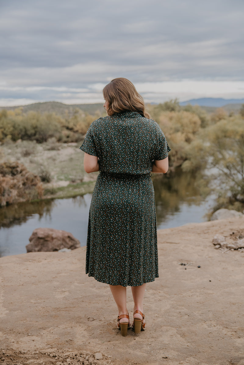 The Ridley Floral Midi in Hunter Green (Sizes 1X-3X)