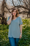 WI Basics: The Eady Cuff Sleeve Top in Dusty Blue (Sizes 1X-3X)