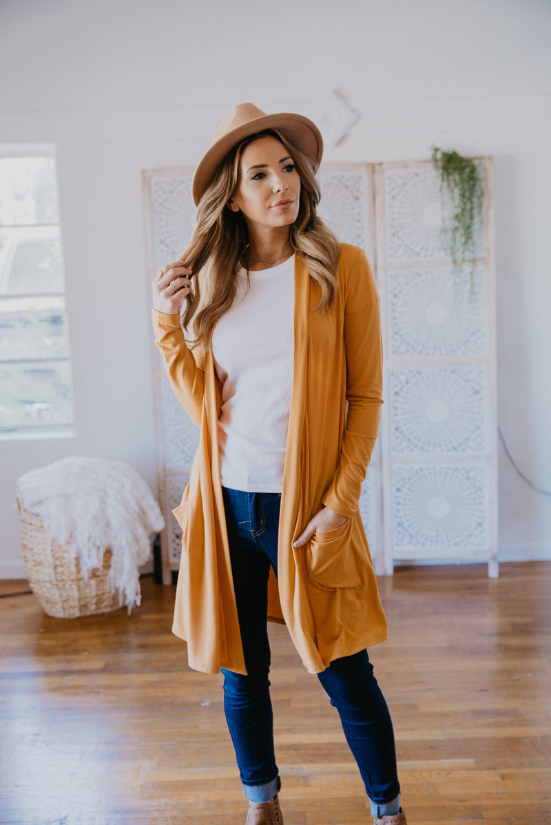 WI Basics: The Kira Cardigan in Mustard (Sizes S-3X)