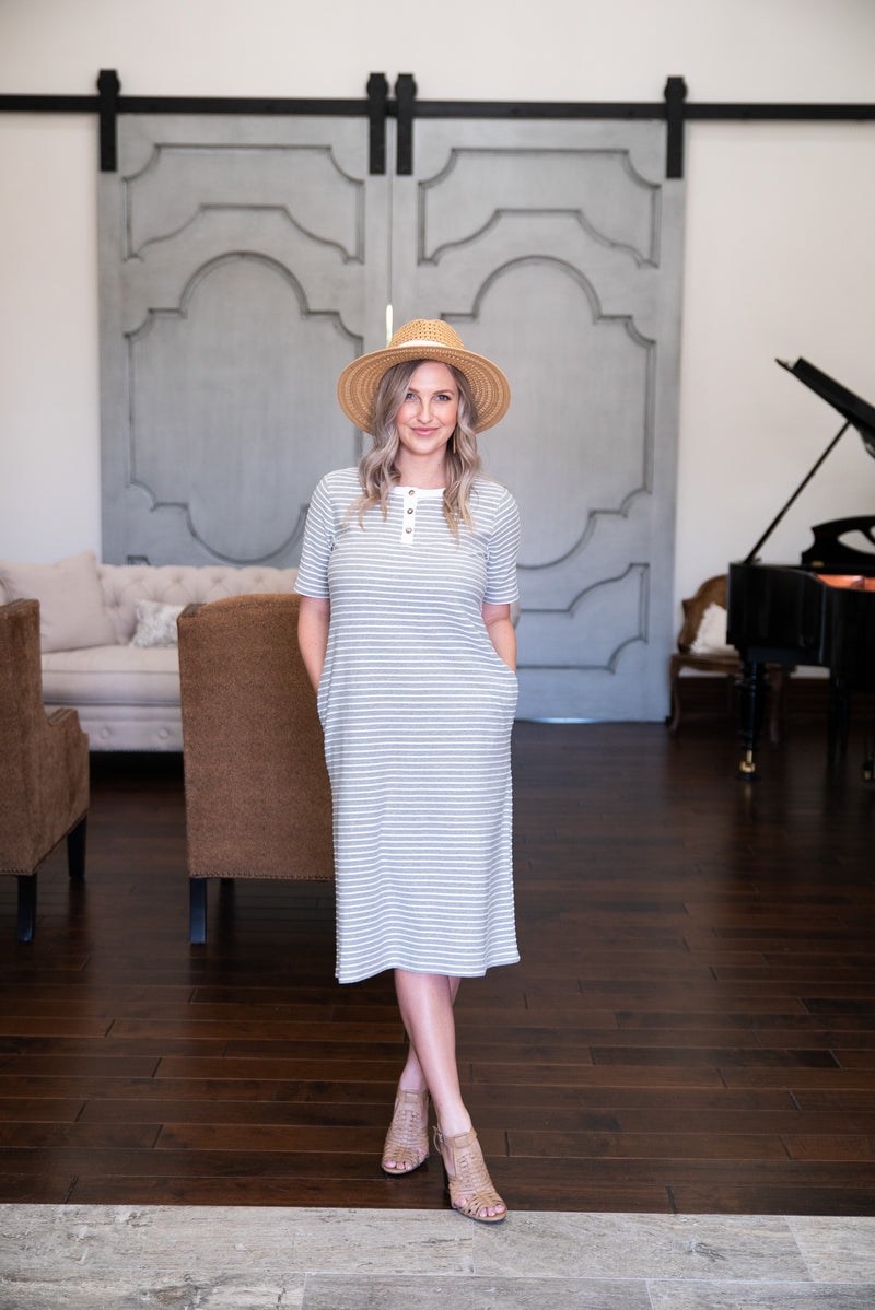 The Hudsyn Striped Dress in Heather Gray