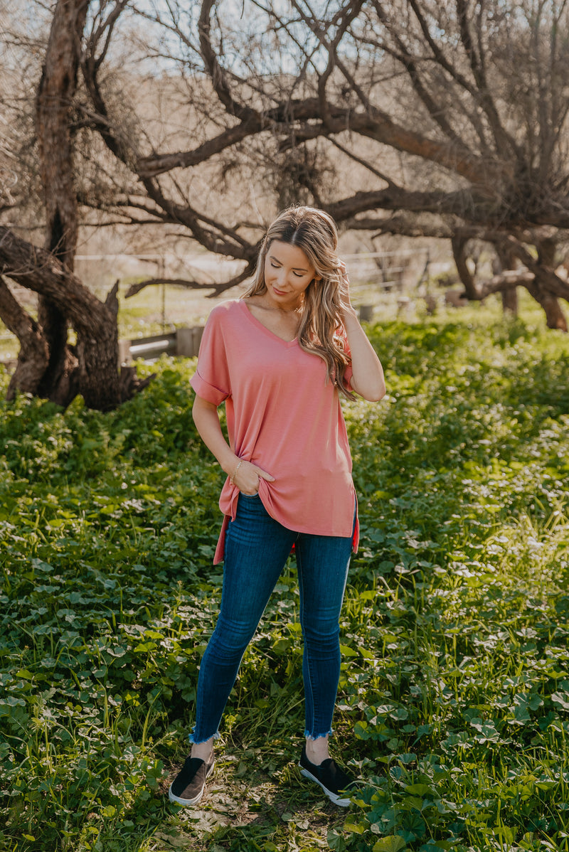 WI Basics: The Eady Cuff Sleeve Top in Ash Rose (Sizes S-3X)