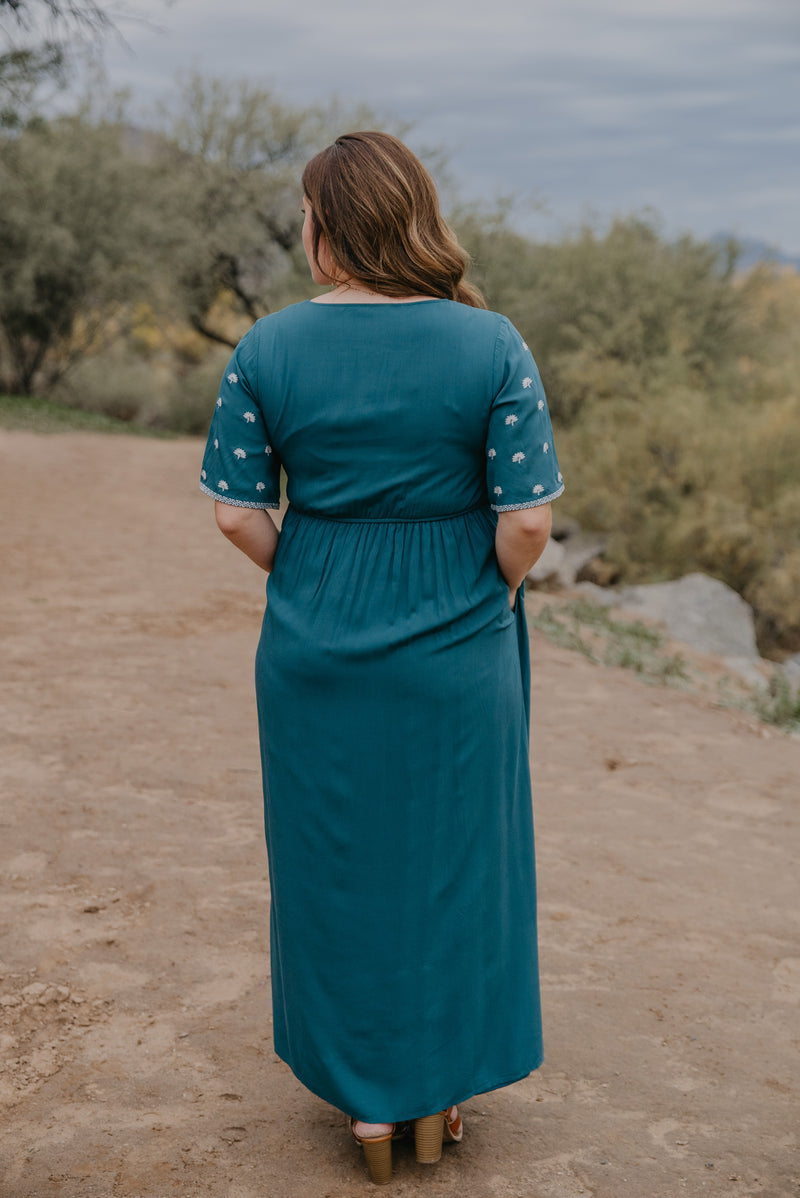 The Tempest Embroidered Maxi in Teal (Sizes S-3X)