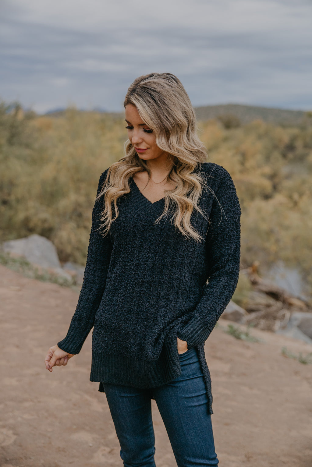 WI Basics: The Orya V-Neck Sweater in Black (Sizes S-3X)