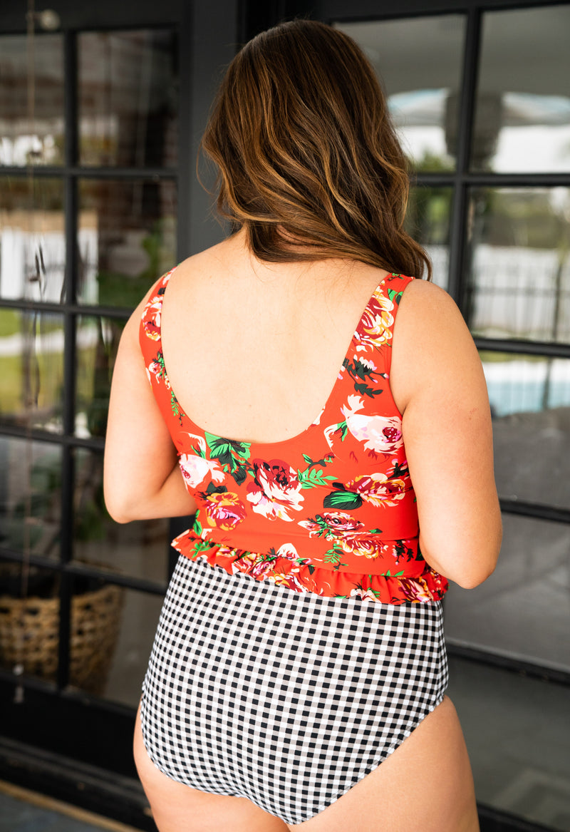 The Costa Rica Floral Swim Top in Red