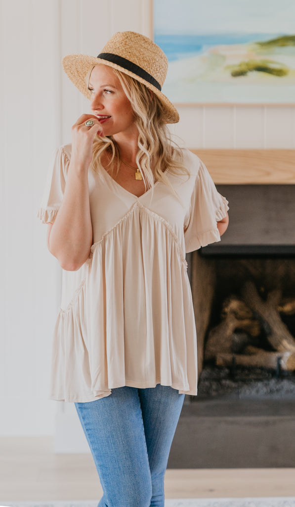 The Chana Jersey Top in Cream, off white, Jersey Knit Top, women fashion, Wren & Ivory, Wren and Ivory, fashion top, ruffle trim, relaxed fit, wide short sleeves,V-neck, fall top, Baby Bump Friendly