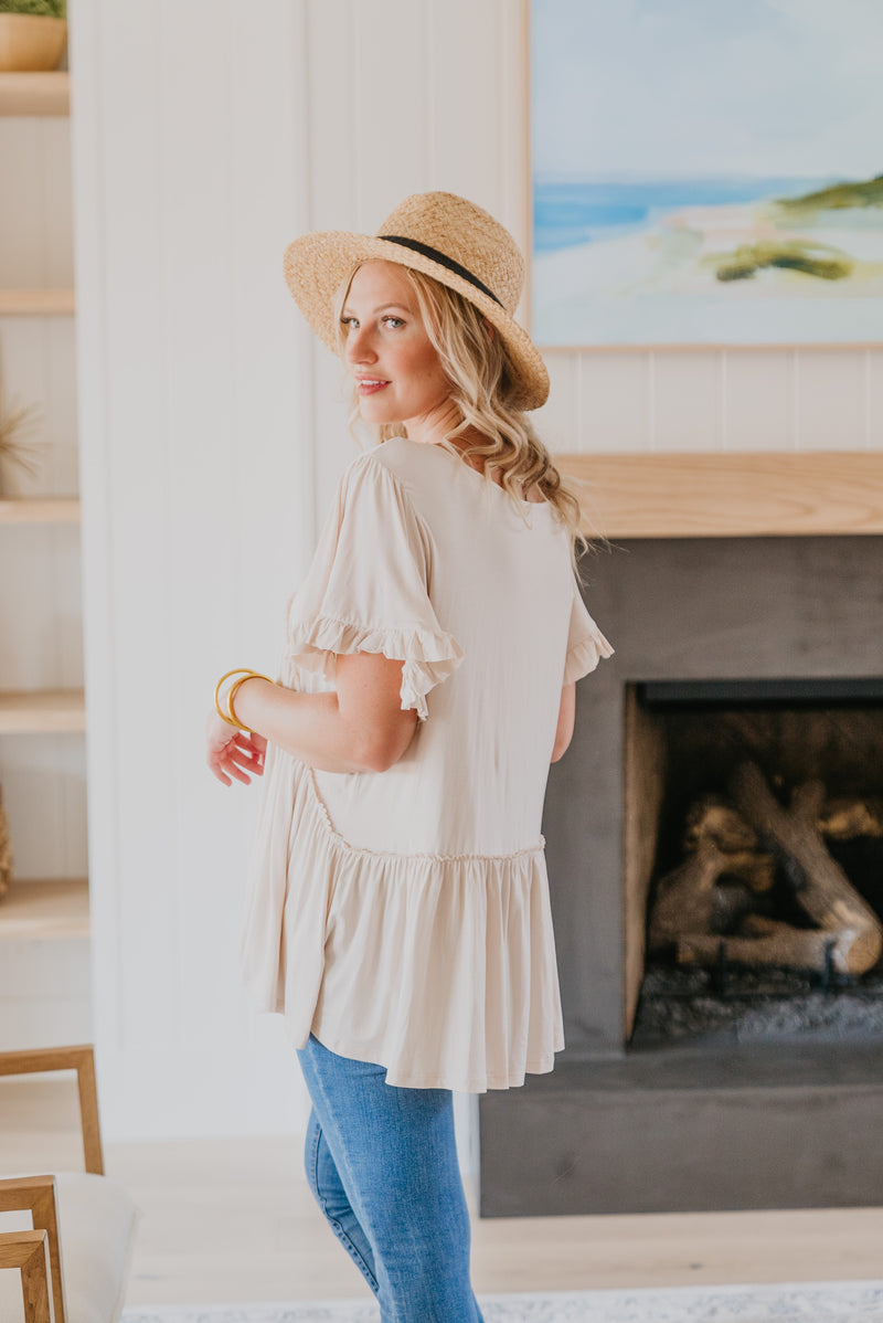 The Baylor Button Maxi in Taupe