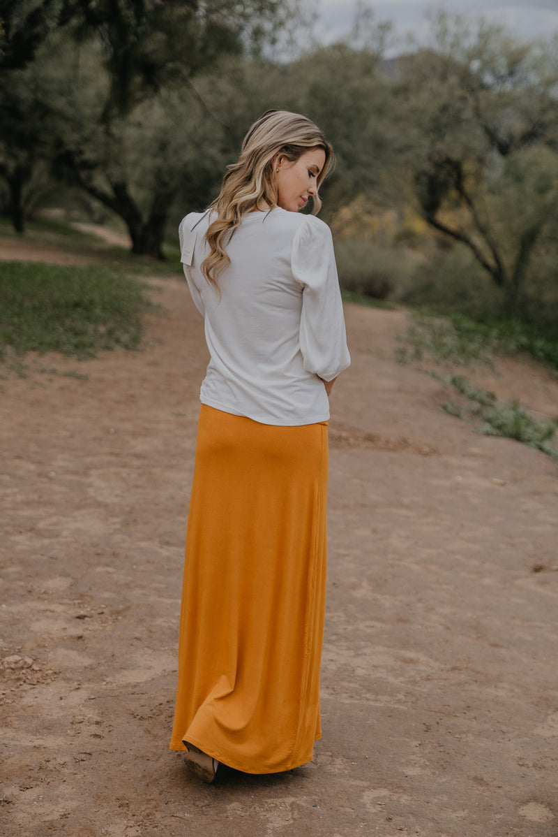 WI Basics: The Zola Solid Maxi Skirt in Mustard