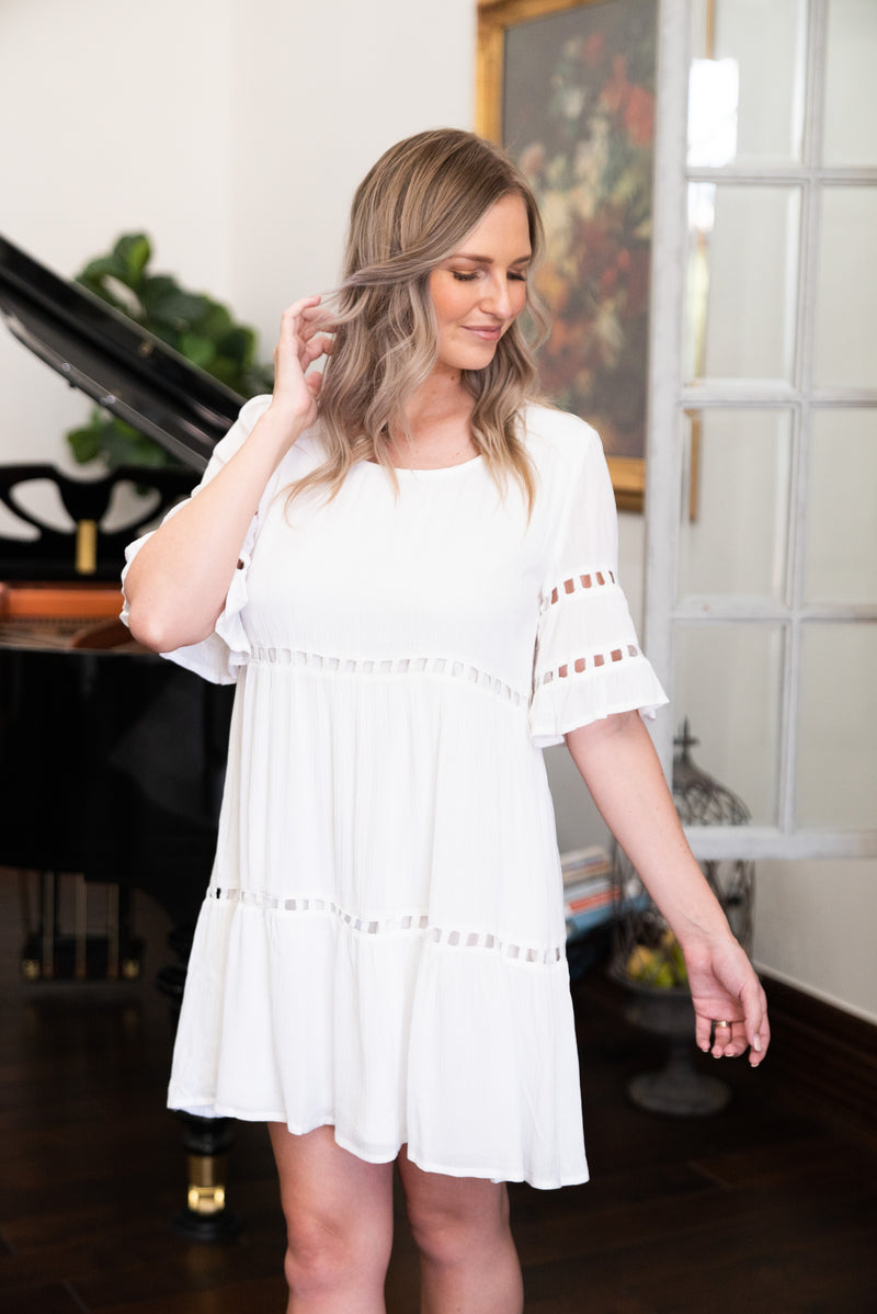 The Key West Tiered Dress in Ivory