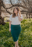 WI Basics: The Idra Pencil Skirt in Hunter Green (Sizes S-3X)