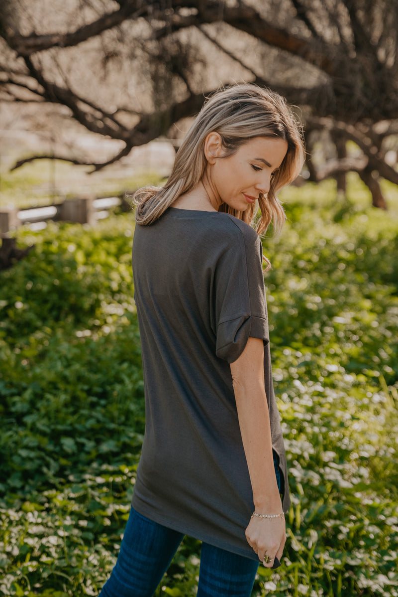 WI Basics: The Eady Cuff Sleeve Top in Charcoal