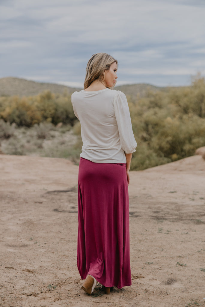 WI Basics: The Zola Solid Maxi Skirt in Wine (Sizes S-3X)
