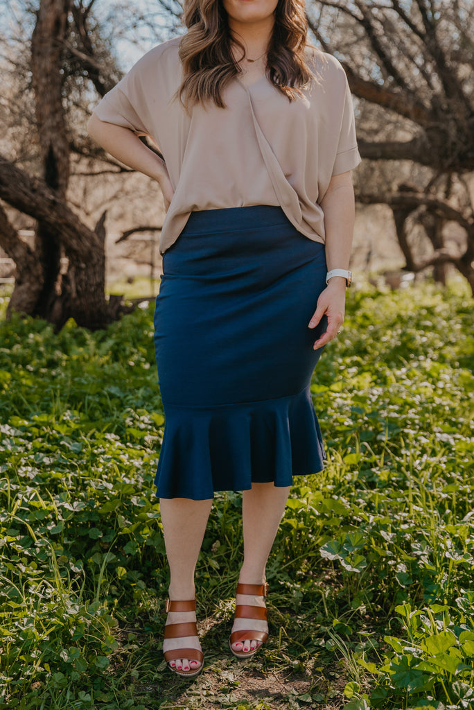 WI Basics: The Elyn Mermaid Skirt in Navy (Sizes S-3X)