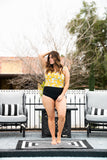 The Bali Ruffle Bardot Swim Top in Yellow