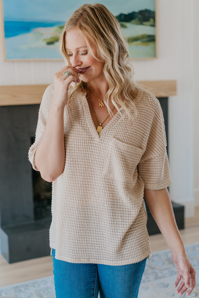 The McKenna Waffle Top in Oatmeal