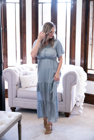 The Reese Solid Button Maxi in Antique Blue