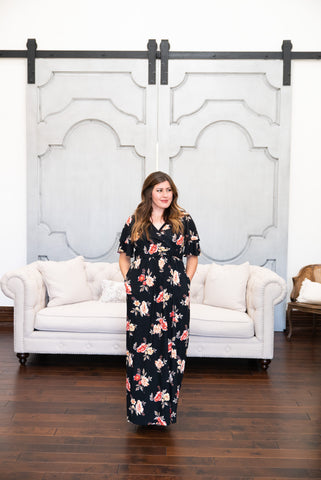 The Reverie Floral Maxi in Black (Sizes S-3X)
