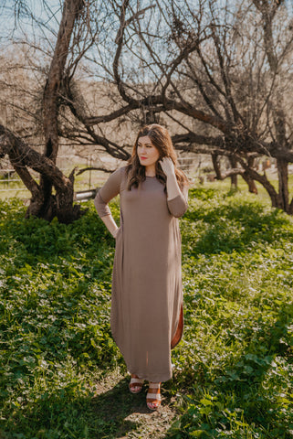 The Rylo Ribbed Dress in Soft Mauve