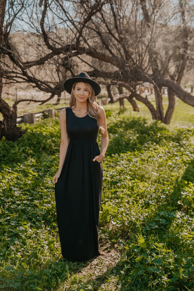 WI Basics: The Kiri Sleeveless Maxi in Black (Sizes S-3X)