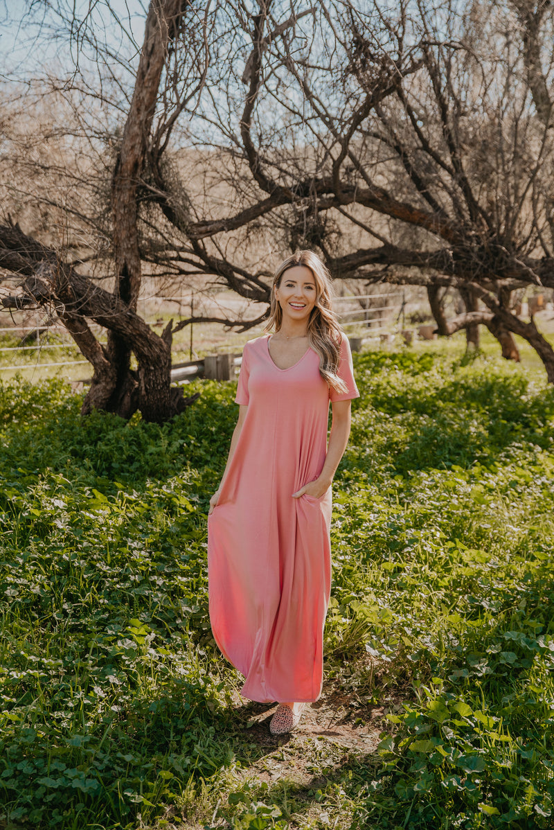 WI Basics: The Luan Short Sleeve Maxi in Ash Rose (Sizes S-3X)