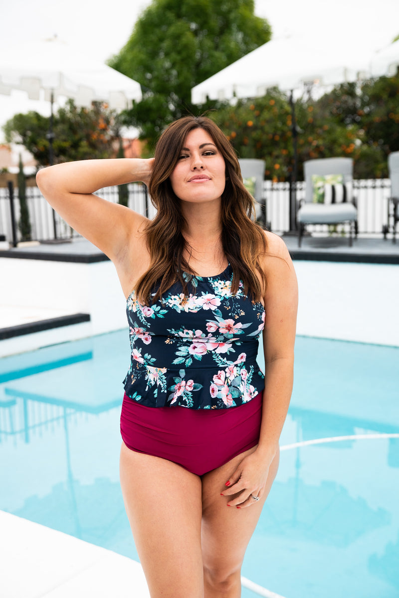 The Nassau Floral Peplum Swim Top in Navy (Sizes S-3X)