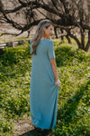 WI Basics: The Luan Short Sleeve Maxi in Dusty Blue (Sizes S-3X)