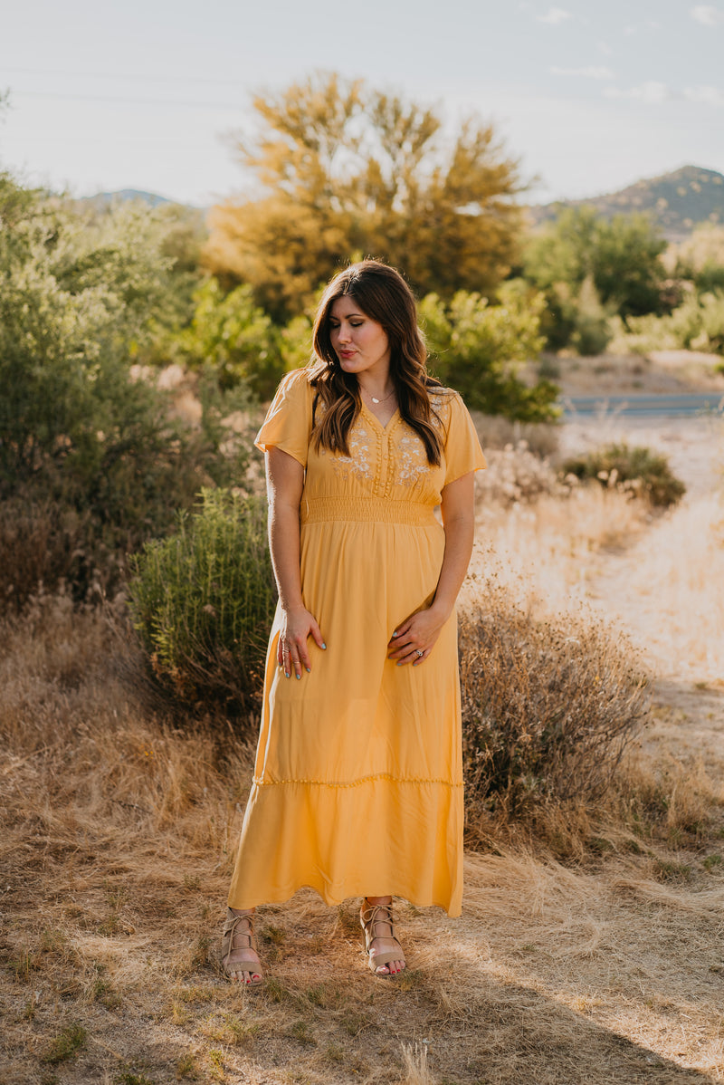 The Shania Embroidered Maxi in Sunshine (Sizes S-3X)