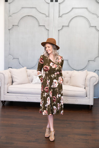 The Delta Floral Faux Wrap in Natural (Sizes S-3X)