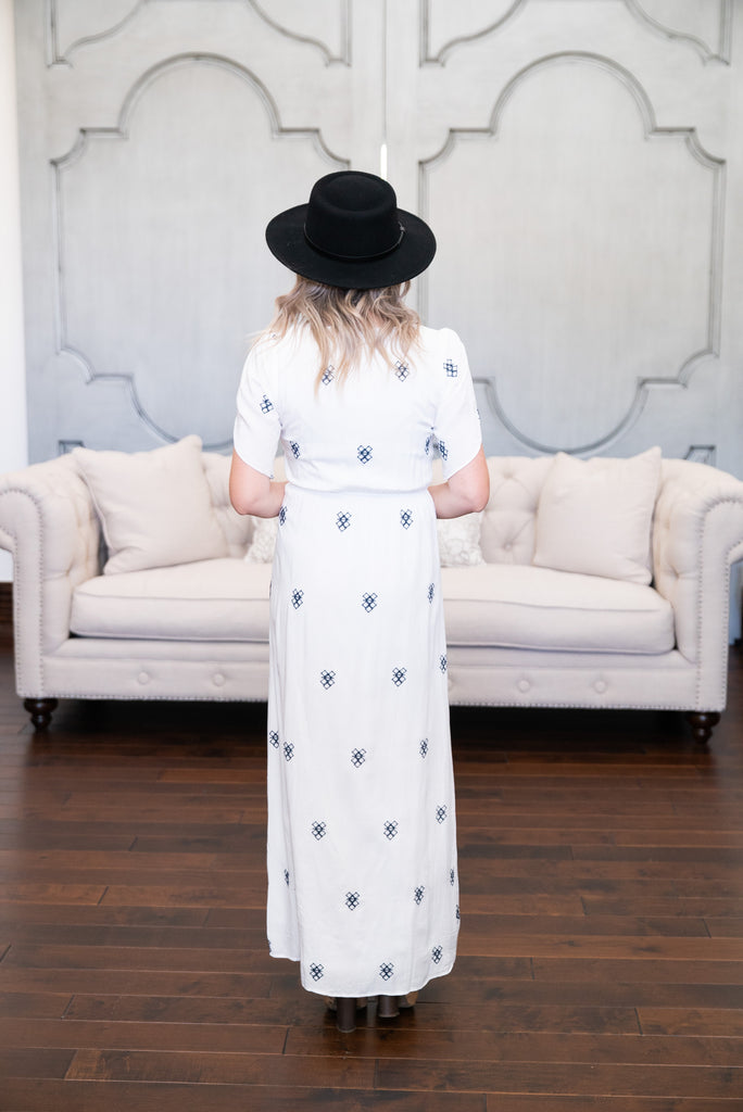 The Diamond Embroidered Maxi in Ivory