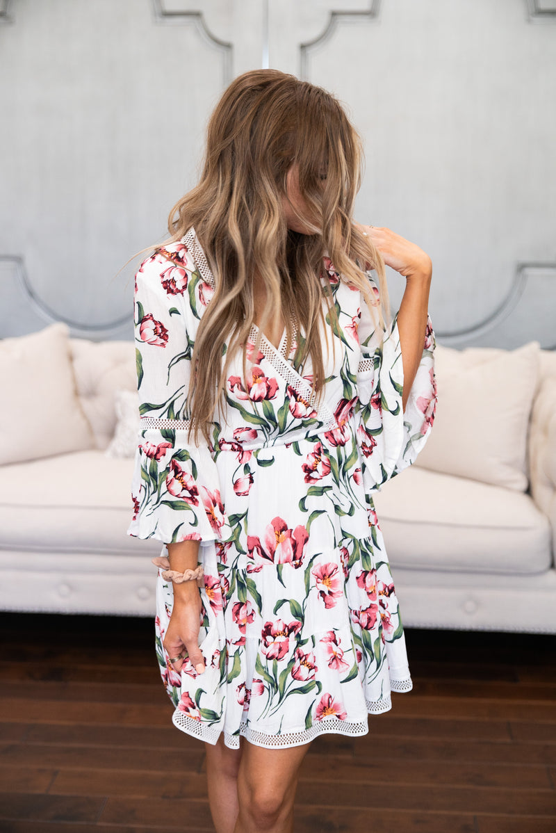The Palmetto Floral Dress in Ivory