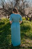 WI Basics: The Vega Solid Maxi in Dusty Blue (Sizes S-3X)