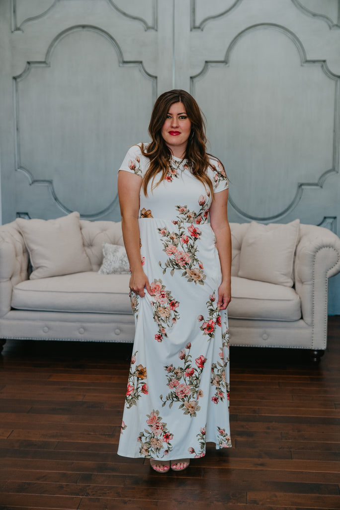 The Reverie Floral Maxi in Ivory (Sizes S-3X)