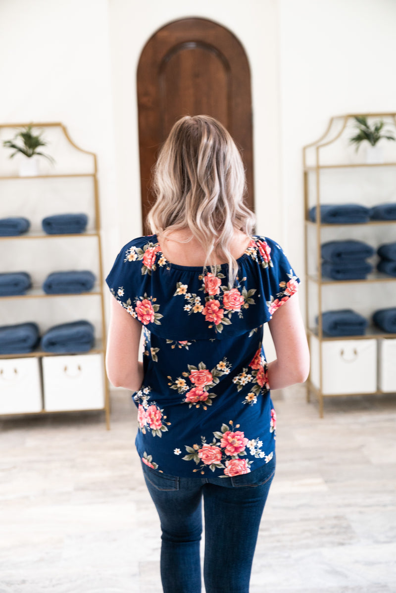 The Ellery Off the Shoulder Top in Navy