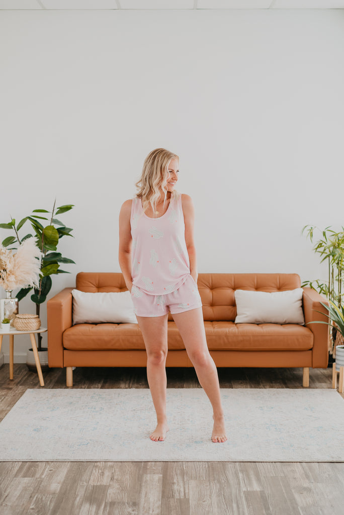 WI Cozy: The Cactus Set in Blush, Wren & Ivory Cozy Collection, comfortable set, stretchy fabric, fashion, Wren & Ivory, Wren and Ivory, short sleeves, pjs, pajamas, loungewear, tank top, mint & pink, cactus print, shorts, shorts & tank set, matching set, cozy, soft