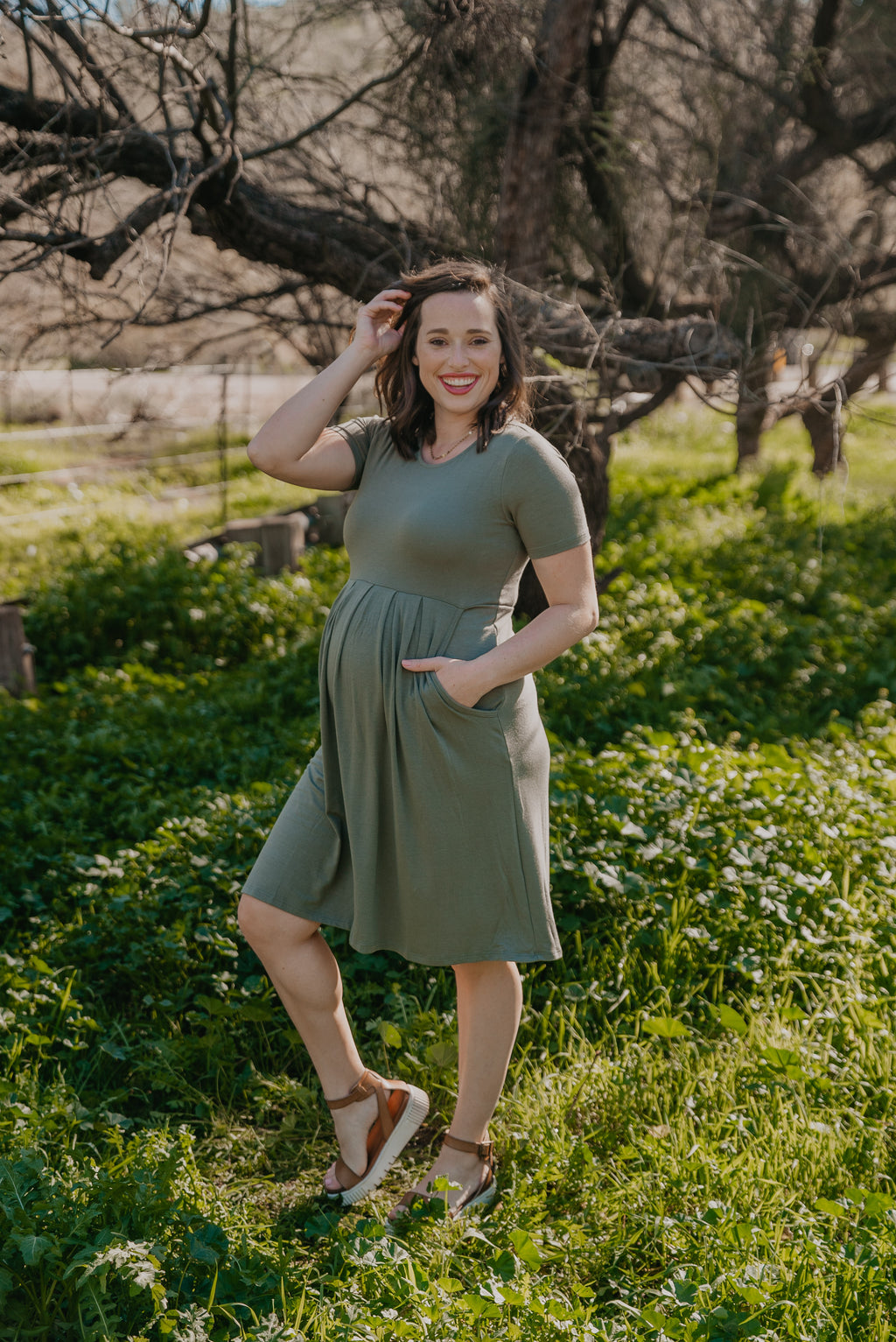 WI Basics: The Alys Pleated Dress in Light Olive (Sizes S-3X)