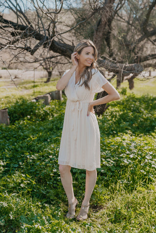 WI Basics: The Kala Cuff Sleeve Dress in Bisque