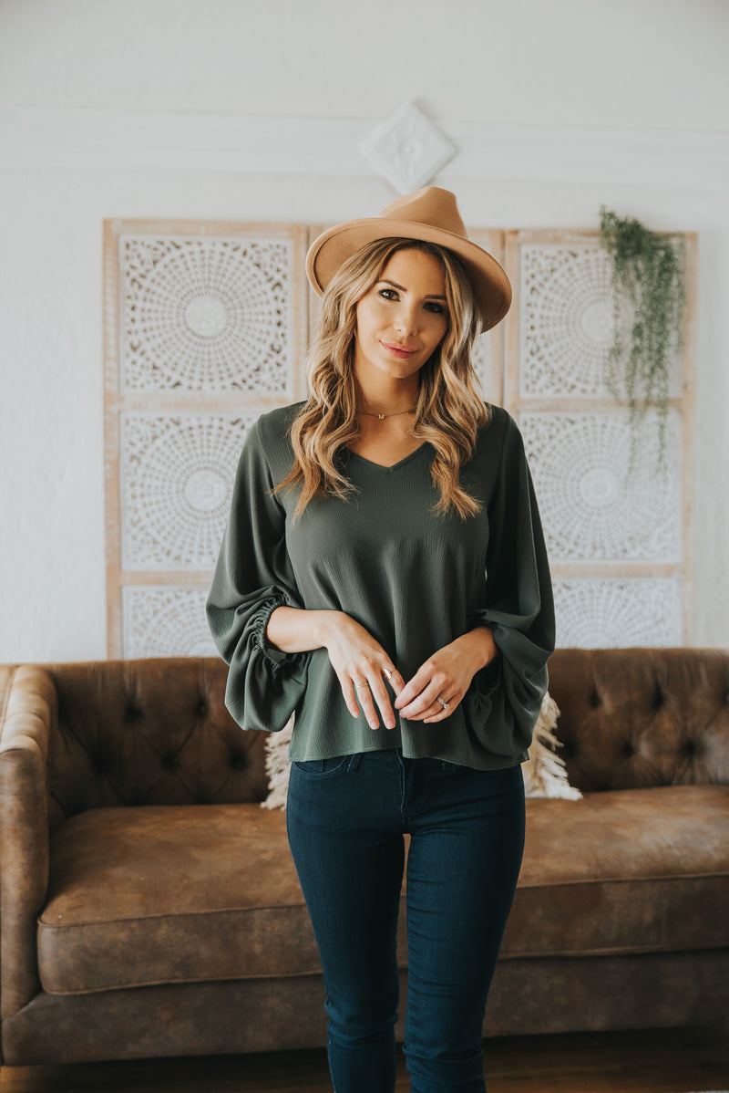 The Vista V-Neck Blouse in Olive