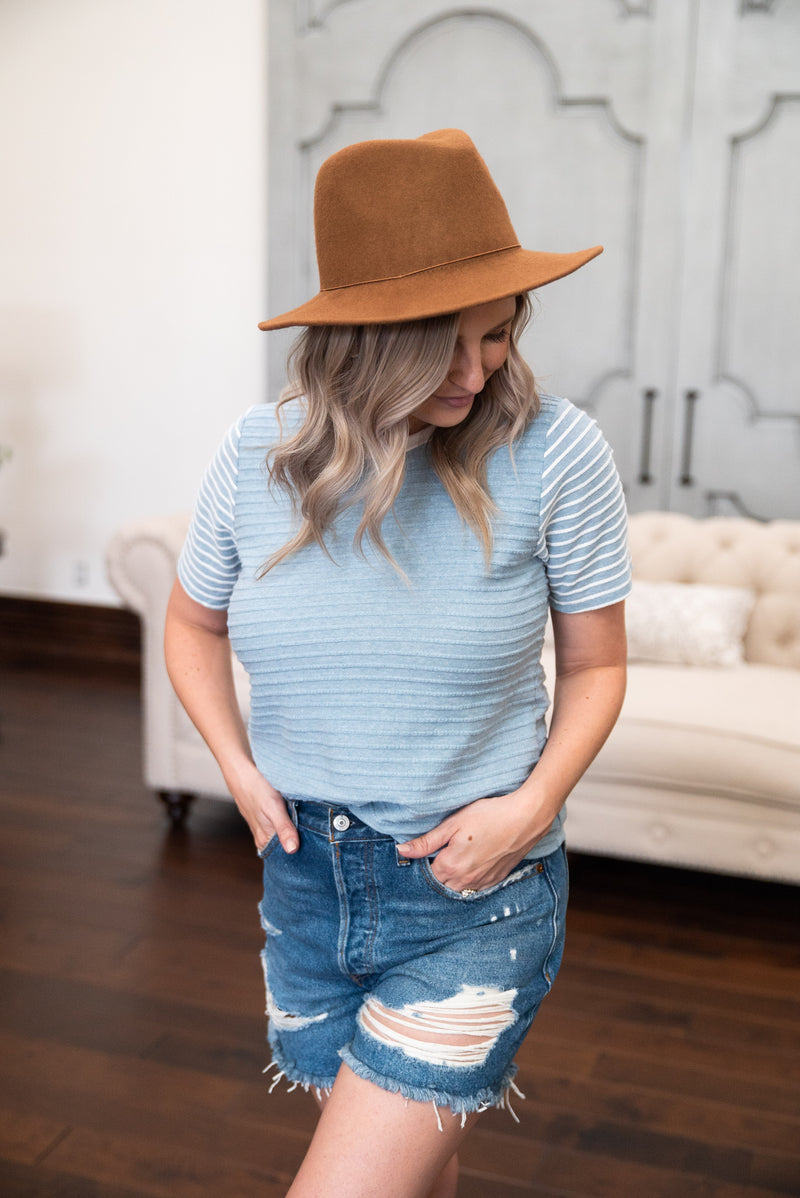 The Hudsyn Striped Top in Dusty Blue