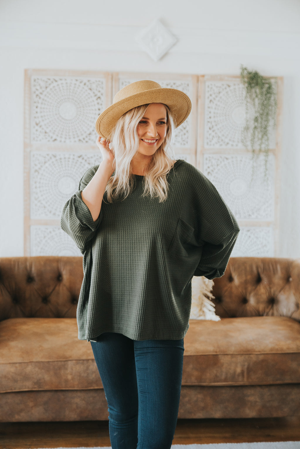The Bijou Waffle Knit Top in Olive (Sizes S-2X)