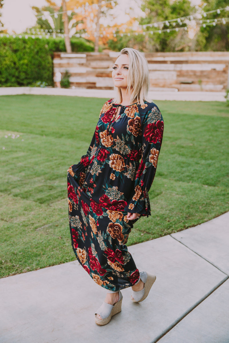 The Firenze Floral Maxi in Navy